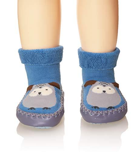 Eocom Baby Boy Girls Toddlers Moccasins Non-Skid Indoor Slipper Shoes Socks (Blue, 12-18 Months)