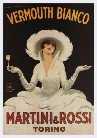 Martini Rossi Vermouth Bianco Vintage Art Poster Print