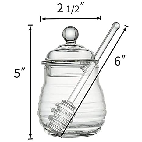 Clear 9 Ounces TOOGOO Transparent glass honey jar with lid Honey Jar with Dipper