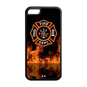 Personalized snap-on iPhone 5c Case Firefighter Symbol with Flames Fireman Emblem black hard durable cover