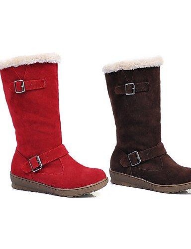 Eu36 Y Casual us6 De Red Mujer Redonda Cn36 us8 Eu39 Plataforma Trabajo Cn39 Semicuero Vestido Uk4 Brown Punta Marrón Botas Rojo Nieve Uk6 Xzz Oficina Zapatos 7qz1B1g