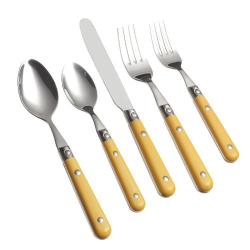 Ginkgo International Le Prix 20-Piece Stainless Steel Flatware Place Setting, Mimosa Yellow, Service for 4 (Stainless Handle Plastic Steel)
