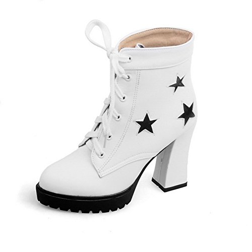 VogueZone009 Women's Lace Up Closed Round Toe High Heels Pu Low Top Boots, White, - Baby Spice Boots