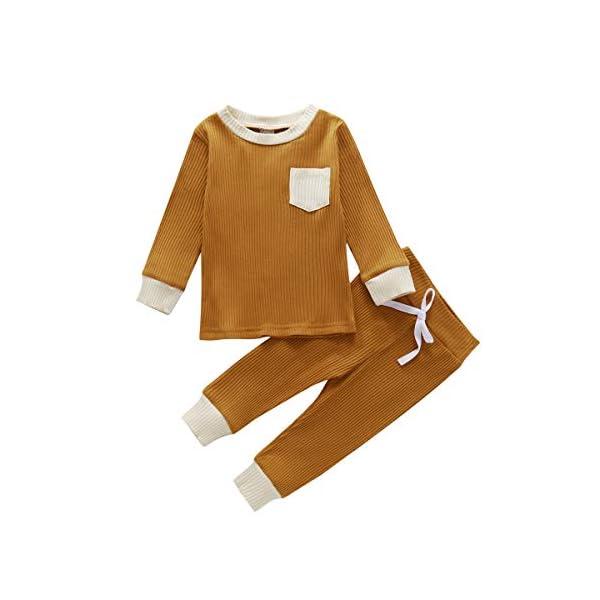 Geagodelia 2 Pezzi Set Completi da Neonati Manica Lunga Colore Semplice Classico Girocollo a Costine Top + Pantaloni con… 1