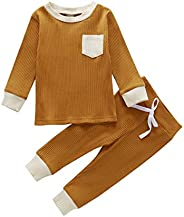 Maemukilabe Toddler Baby Unisex Long Sleeve Homewear Ribbed Knitted Outfits Solid Pajamas Sleepwear Sports 2Pc