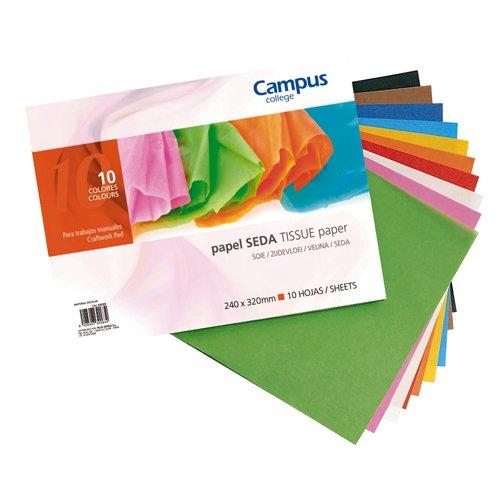 Campus University 630093–Pack di 10fogli di carta seta, 24x 32cm, Multicolore Makro Paper