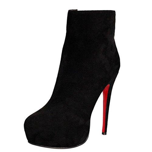 Inverno 0709FD gli posto impermeabili caviglia Stivaletti dell'alto Booties Mostra tallone Camoscio da banchetto del artificiale Scarpe Autunno di 41 della Caricamenti A stivali A lavoro signora della 8AgwC