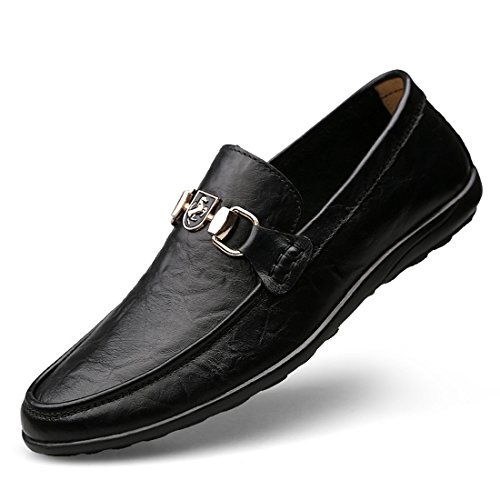 Minitoo Boys Mens Snap Slip-On Spring/Summer/Fall Casual Shoes Black