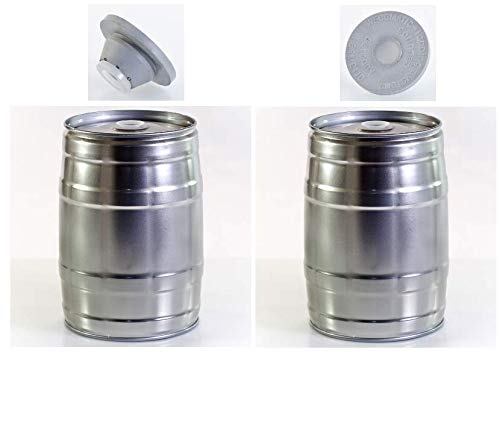 Brauen.de Pack of 2 x 5 Litre Party Kegs + 3 rubber Stops