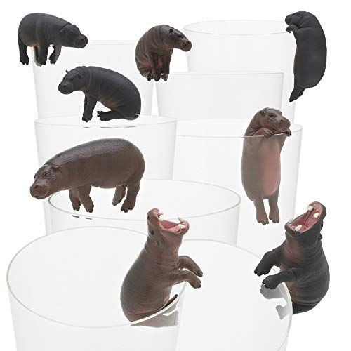 Kitan Club Putitto Pygmy Hippopotamus Cup Toy - Blind Box Includes 1 of 8 Collectable Figurines - Hangs on Thin, Flat Edges - Authentic Japanese Design - Made from Durable Plastic, Premium Quality