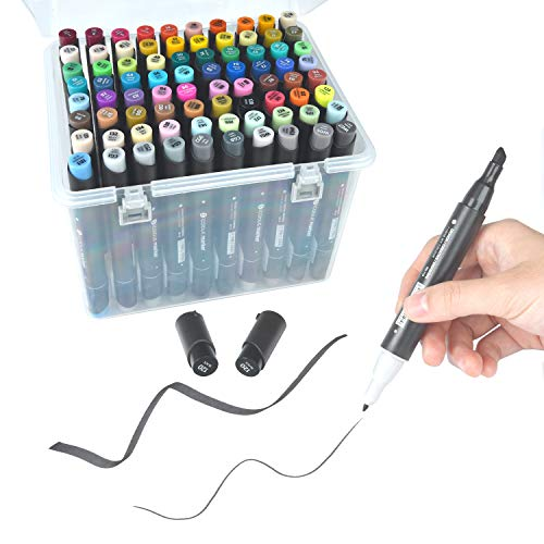 Media Permanent Marker - 80 Colors Dual Tips Permanent Marker Pens Art Markers Highlighters with Carrying Case for Drawing Sketching Adult Coloring Highlighting and Underlining,Includes: Plastic Storage Case