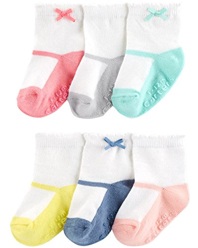 Carter's Baby Girls' 6-Pack Bow Booties Mary Jane Socks (3-12 Months, Mary ()