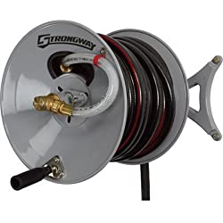 Strongway Parallel or Perpendicular Wall-Mount Garden Hose Reel - Holds 150ft. x 5/8in. Hose