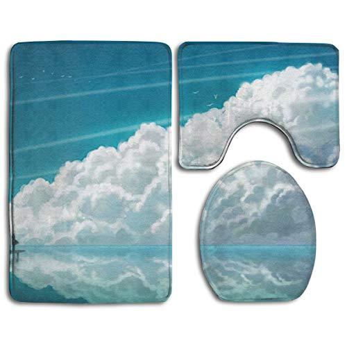 Hucuery Customized Lonely Girl Sky Clouds Wallpaper Fashion Bathroom Carpet Cushion Set 3 Anti-Skid Cushion Bath Cushion + Contour + Toilet -