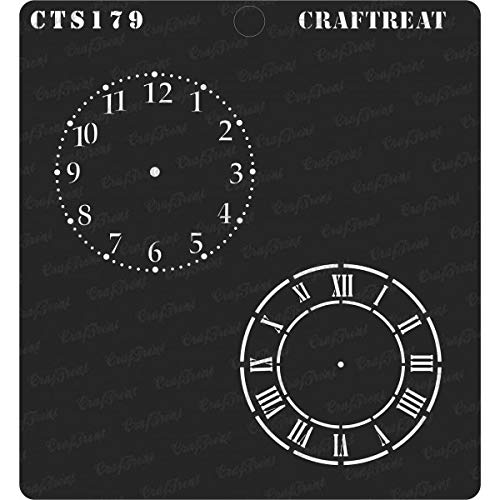 CrafTreat Stencil - Clock Dials | Reusable Painting Template for Journal, Home Decor, Crafting, DIY Albums, Scrapbook, Decoration and Printing on Paper, Floor, Wall, Tile, Fabric, Wood 6
