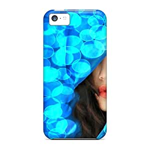 New Premium Flip Case Cover Blue Woman Skin Case For Iphone 5c