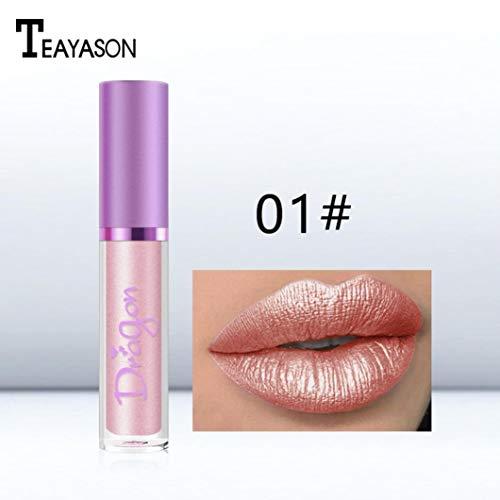 YOYORI Women Waterproof Mermaid Lipstick Waterproof Moisturizing Lasting Long Shimmer Liquid Lip Gloss Makeup (A)