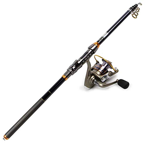 Zyu Portable Telescopic Fishing Rod and Reel Combos Travel Spinning Fishing Pole Kits