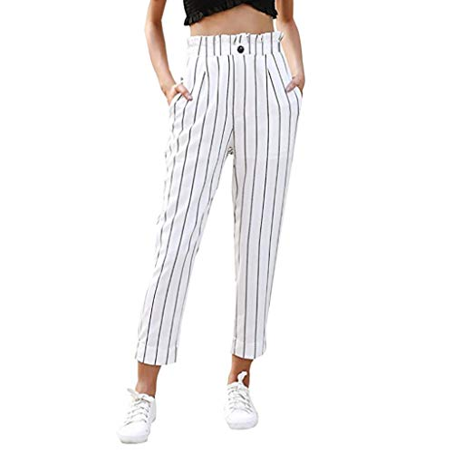 JOFOW Women's Leggings,Casual Striped Skinny Pocket Elastic High Waist Long Trousers Pencil Pant for Women (XL,White)