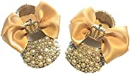Luxurious Infant Baby Girls Pearl Beaded Bow Ballet Ballerina Flat Crib Shoes for First Walking Photography