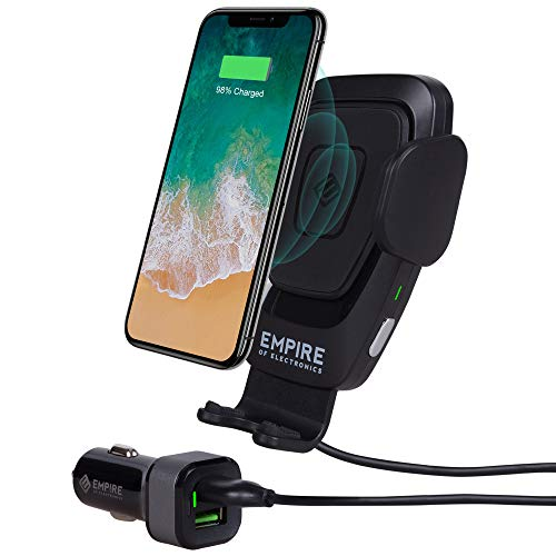Empire of Electronics Wireless Car Charger Mount | Automatic Phone Holder 10W Qi Fast Charging Power | Cell Phone Air Vent Clamping | For iPhone XS/XS Max, XR, X/8/8 Plus, Samsung Galaxy S10/S9/S8/S7