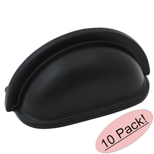 Cabinet Kitchen Hardware Black (Cosmas 4310FB Flat Black Cabinet Hardware Bin Cup Drawer Handle, 10-Pack )