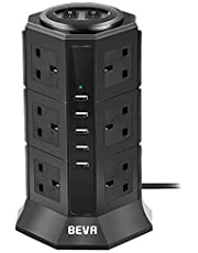Extension Lead Socket, BEVA Extension Power Surge Protector Tower Power Strip with 6.5 ft Power Cord and 5 USB Charging Ports (5V/4.5A) 12 Way Outlets