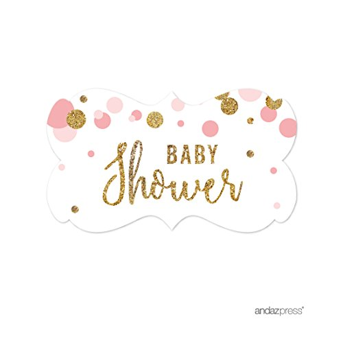 Andaz Press Blush Pink Gold Glitter Girl Baby Shower Party Collection, Fancy Frame Label Stickers, ()