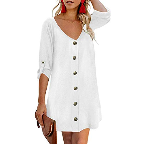 Womola Women's Roll Tab 3/4 Sleeve V Neck Button Down Casual Flowy Mini Tunic Dress(White,XXL)