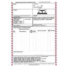 Air Sea Containers IATA Shippers Declaration Form for Dangerous Goods by AIR- Laser PrinterNEW (100/Pack)