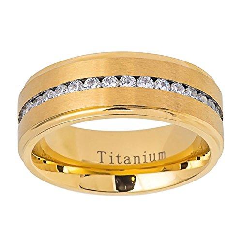 - Personalized Inside Engraving Titanium Wedding Band Ring 8mm Gold Tone Brushed Center CZ Eternity Ring