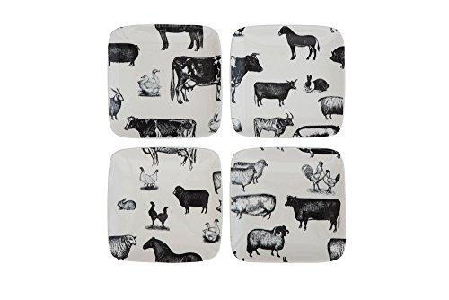 5'' Square Farm Animals Stoneware Plates - Set of 4