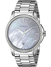 G-Timeless Analog Display Swiss Quartz Silver-Tone Women's Watch(Model:YA126444w)