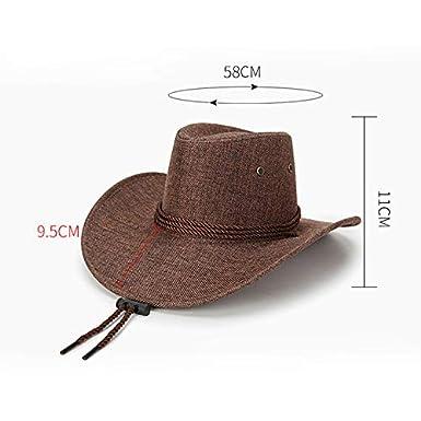 Daliuing 1 Pieza Gorro de Verano de Primavera para Hombres Sombrero de Sol  de Lino de sombrilla Sombrero de Vaquero Occidental de Moda-Beige 14ef41c7f4d