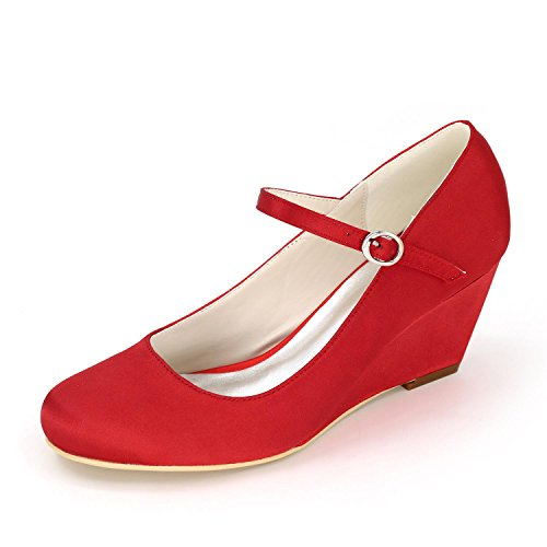 02 Wedding Wedding Multicolor Women's P Heels Red High Ivory L White Customized YC Clothes Slope 9140 qASOIwq0x