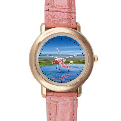 Gifts for girls or ladies Graceful Flamingo in Wetlands Pink Leather Alloy High-grade Watch