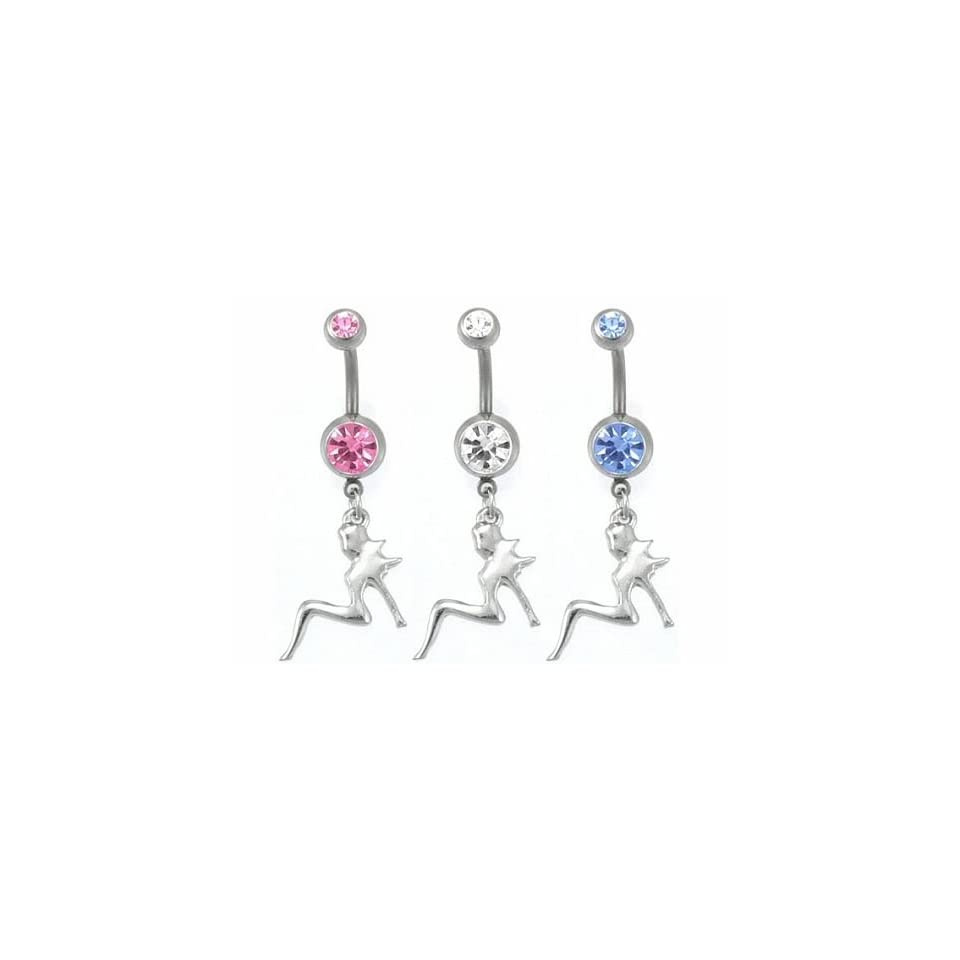 Mud Flap Girl Gem Belly Ring Mixed CZ Stones