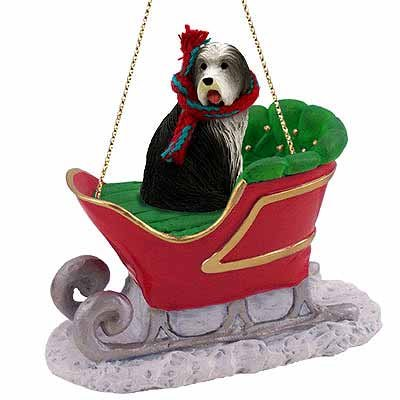 Bearded Collie Sleigh Ride Christmas Ornament - DELIGHTFUL!
