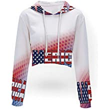 Sleeve Crop Top Sweatshirt,American,Print Crop Hoodie Sweatshirt