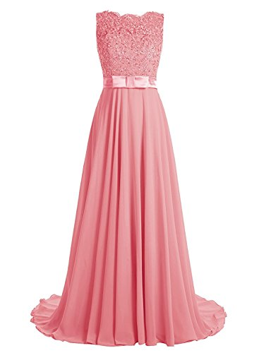 Victoria Prom Elegant Long Prom Gown Lace Bridal Dress with Flowing Chiffon Skirt Coral us20w