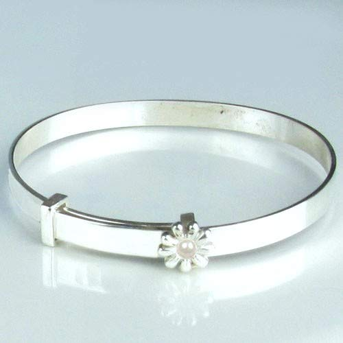 Hallmarked Sterling Silver Expanding June Birthstone Set in a Flower Christening Baby Bangle Free Engraving /& Free Personalised Box Ribbon 12 Month Guarantee.