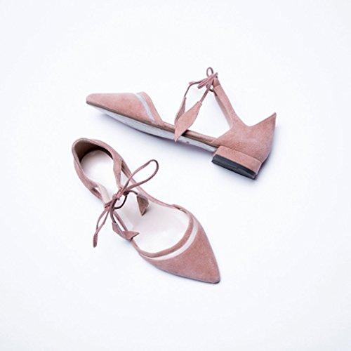 Hombro Lotus Hollow Straps Verano Tacón Malla acentuadas Slim de bajo Tied Color Shoes de de Sandals Sandalias vXxqZRF