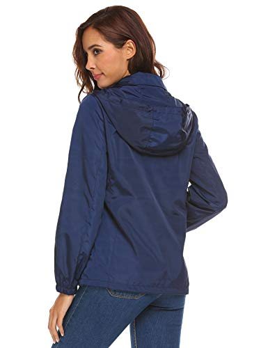 211 Capucha Mujer Sólida Abrigo Coorun Manga Cortaviento Casual Larga Azul Con Impermeable BaxwZA6Pqw