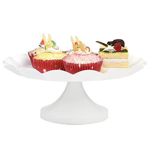 Vintage Style Metal Cake Stand, Dessert Display Plate w/Scalloped Edge Design, White