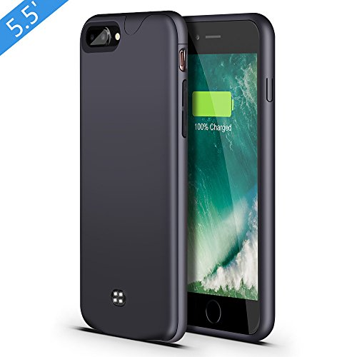 iPhone 7 Plus 8 Plus Battery Case,Support Headphone,Lsmila 4200mAh Ultra Slim Extended Charging Case for iPhone 7Plus 8Plus(5.5') Battery Charger Case Battery Pack w/Lightning Port,Double Battery-Gr...