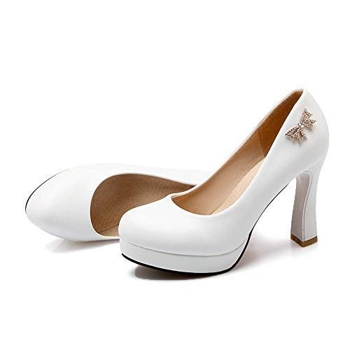BalaMasa Womens Glass Diamond Metal Bowknot Imitated Leather Pumps-Shoes White 3gsmDx5jIT