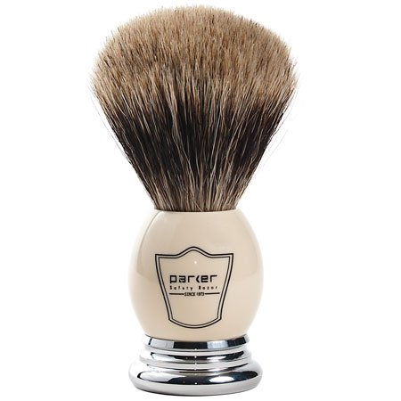 Parker Safety Razor 100% 'Extra Dense' Best Badger Bristle Shaving Brush with White & Chrome Handle -- Free Brush Stand Included