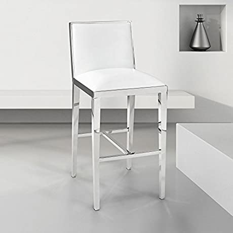 Uptown Club Caspar Collection Steel Bar Stool With Velvet Upholstery White
