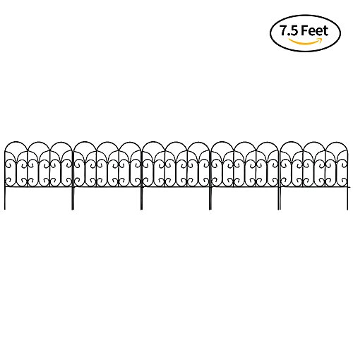 Amagabeli Decorative Garden Fence Coated Metal Outdoor Rustproof 18in x 7.5ft Landscape Wrought Iron Wire Border Fencing Folding Patio Fences Flower Bed Barrier Section Panel Decor Picket Edging Black (Fence Flower)