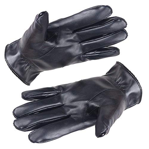 URIBAKE ❤ Fashion Men's Leather Gloves Black Soft Fleece Lining Screen Touch Anti Slip Driving Mitten